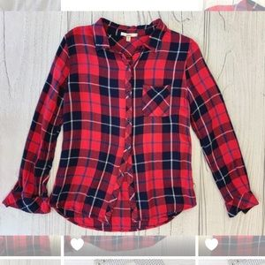 ACEMI Red Plaid Button Up Shirt